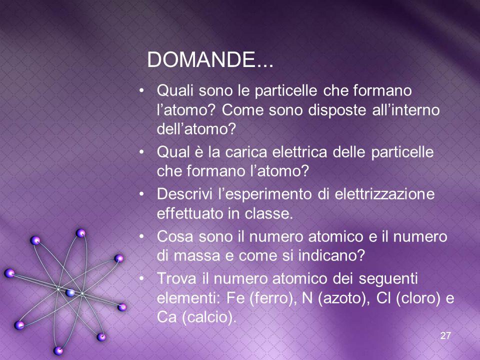 DOMANDE... Quali sono le particelle che formano l'atomo Come sono disposte all'interno dell'atomo