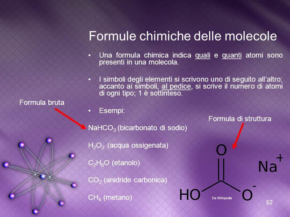 Formule chimiche delle molecole
