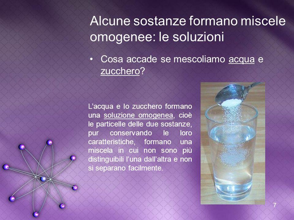 Alcune sostanze formano miscele omogenee: le soluzioni