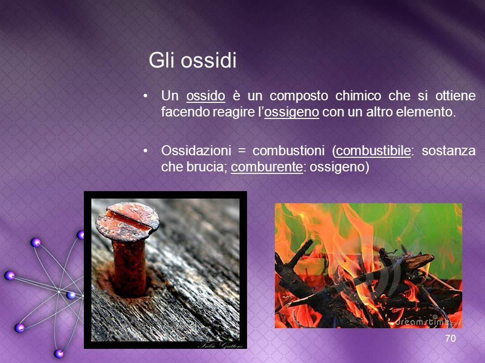 Gli ossidi Un ossido è un composto chimico che si ottiene facendo reagire l'ossigeno con un altro elemento.