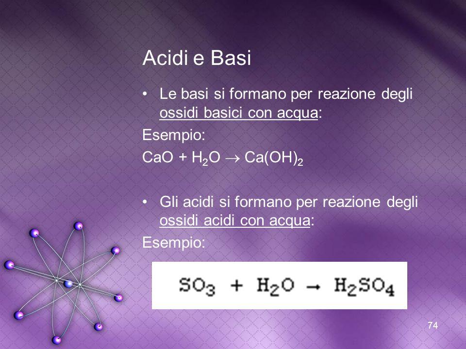 Acidi e Basi Le basi si formano per reazione degli ossidi basici con acqua: Esempio: CaO + H2O  Ca(OH)2.