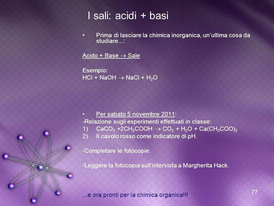 I sali: acidi + basi Prima di lasciare la chimica inorganica, un'ultima cosa da studiare...: Acido + Base  Sale.