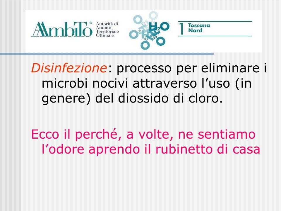 Disinfezione: processo per eliminare i microbi nocivi attraverso l'uso (in genere) del diossido di cloro.