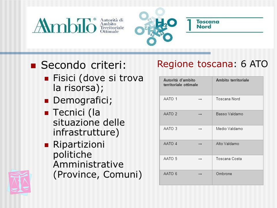 Secondo criteri: Regione toscana: 6 ATO