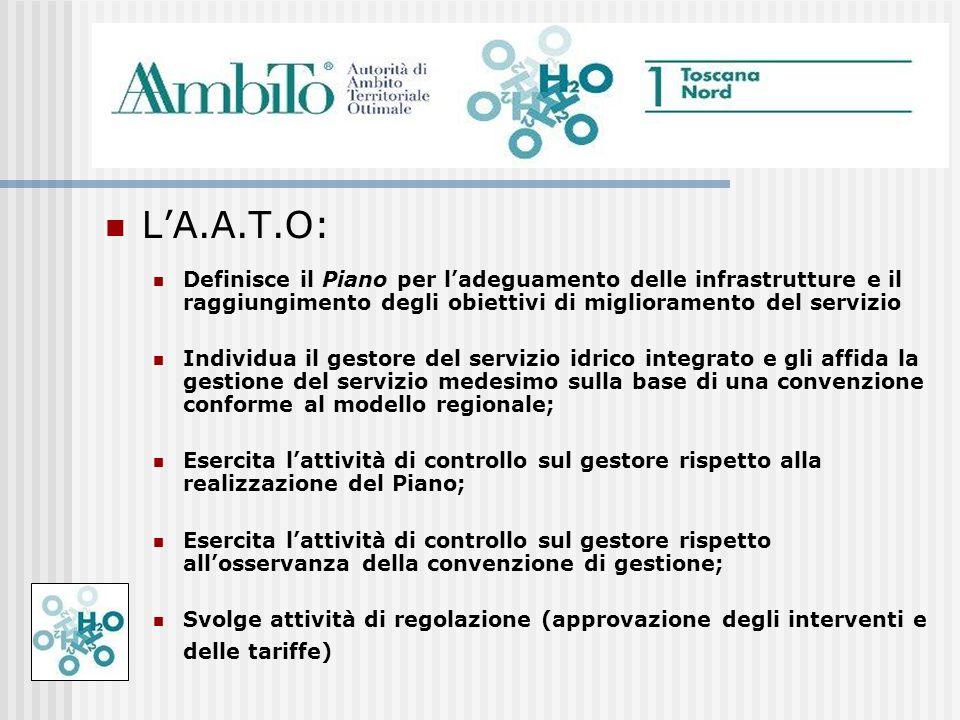 L'A.A.T.O: Definisce il Piano per l'adeguamento delle infrastrutture e il raggiungimento degli obiettivi di miglioramento del servizio.