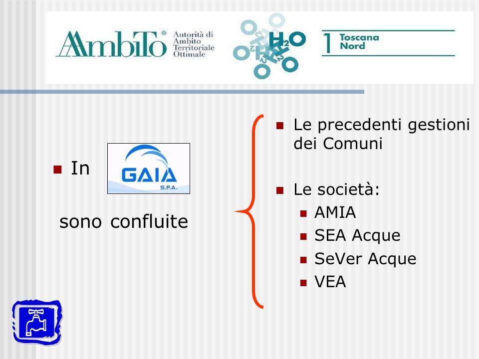 In sono confluite Le precedenti gestioni dei Comuni Le società: AMIA