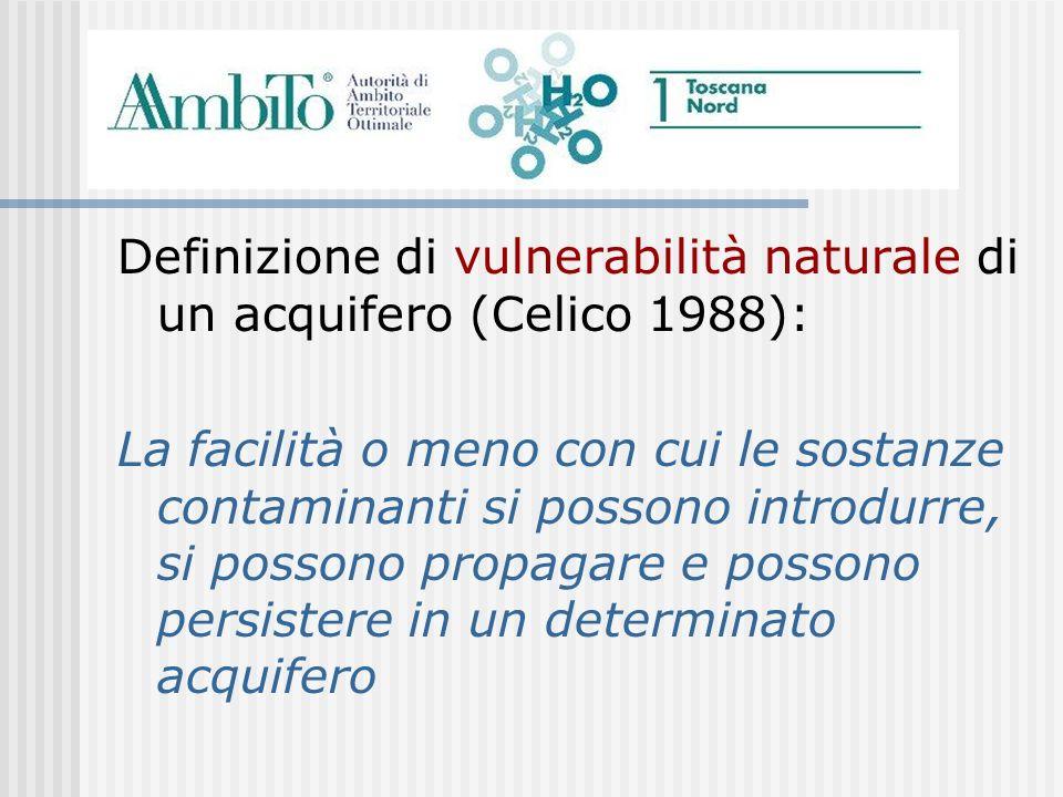 Definizione di vulnerabilità naturale di un acquifero (Celico 1988):