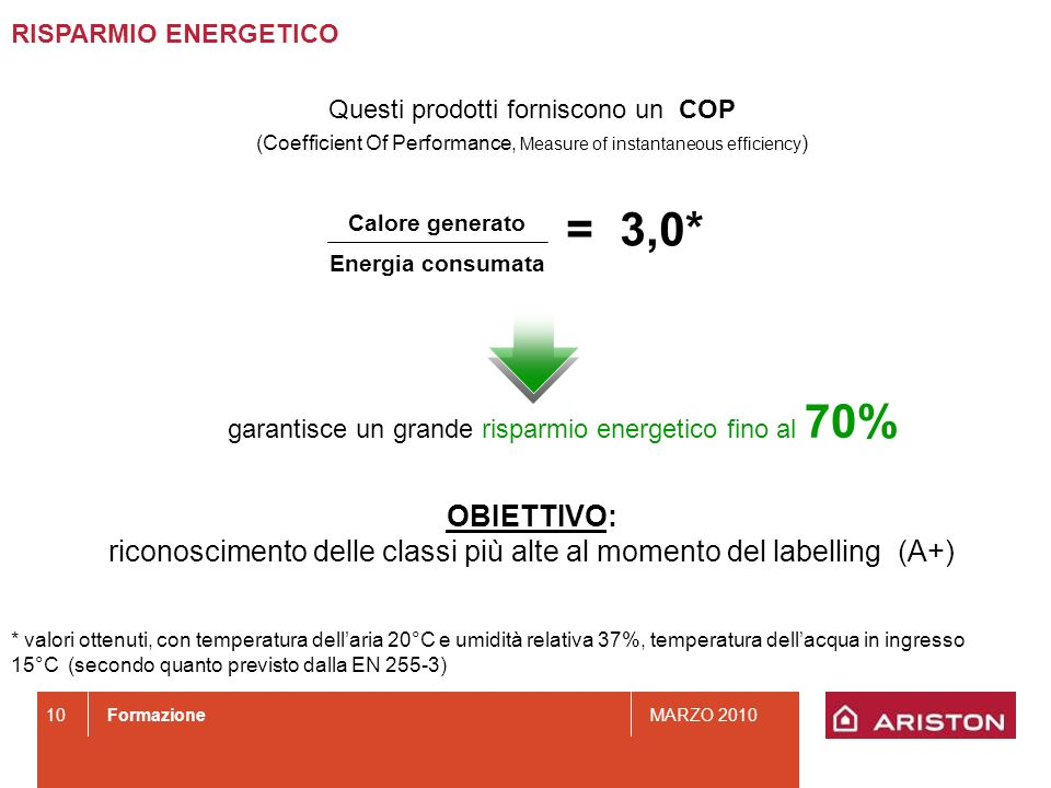 RISPARMIO ENERGETICOQuesti prodotti forniscono un COP. (Coefficient Of Performance, Measure of instantaneous efficiency)