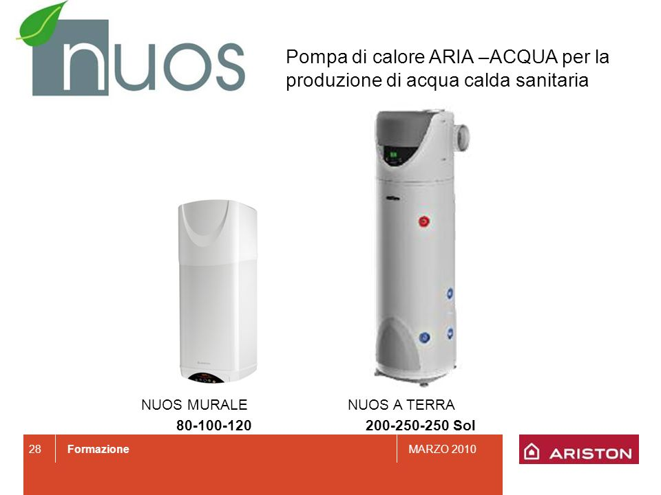 Pompa di calore ARIA –ACQUA per la produzione di acqua calda sanitaria