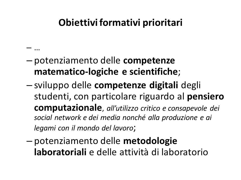 Obiettivi formativi prioritari