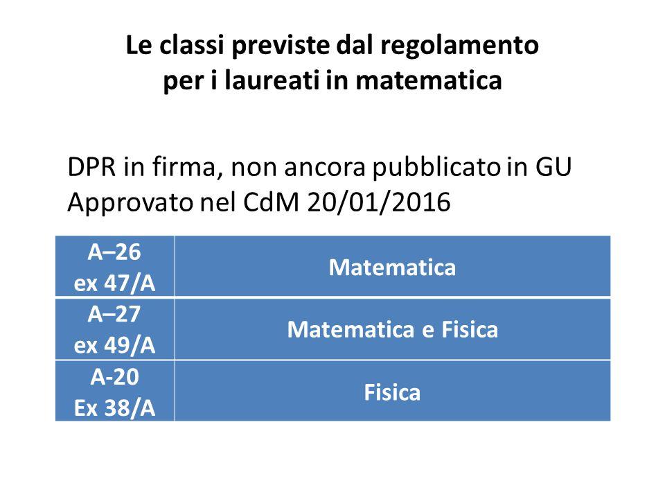 Le classi previste dal regolamento per i laureati in matematica