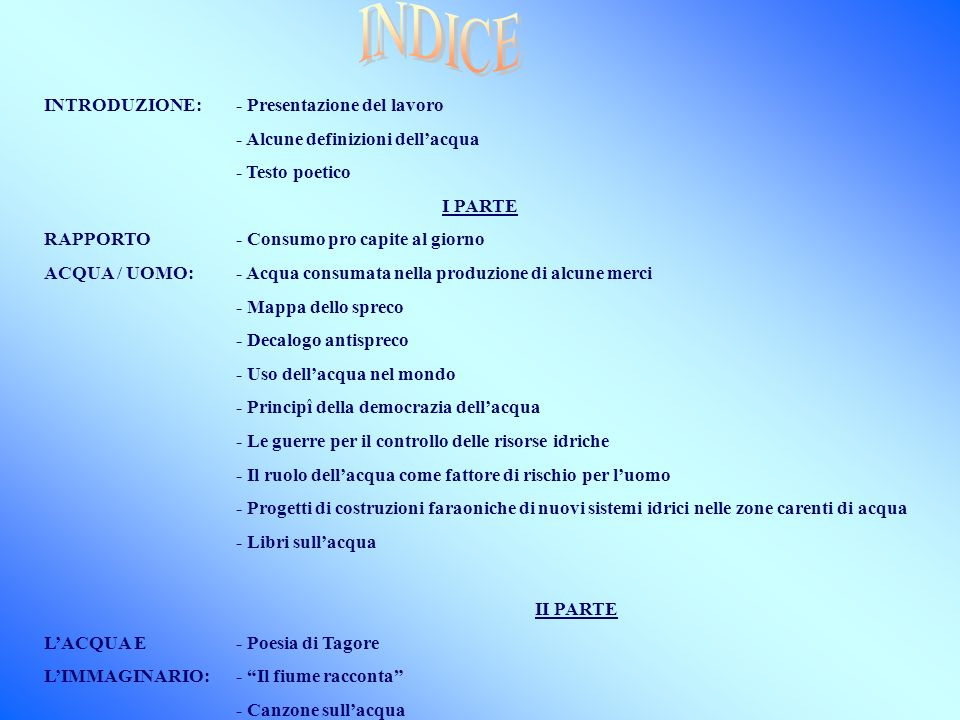 INDICE INTRODUZIONE: - Presentazione del lavoro