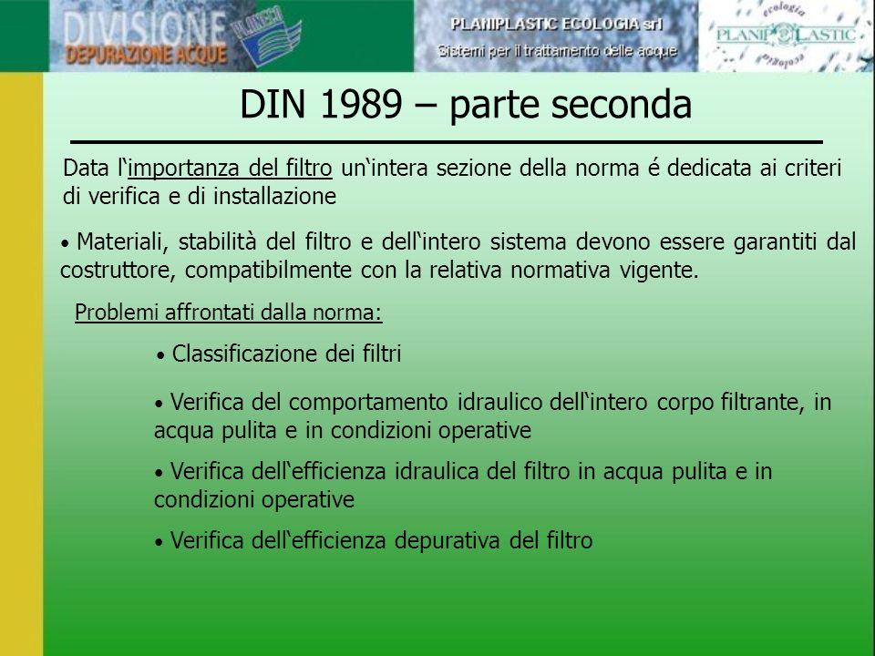 DIN 1989 – parte seconda Data l'importanza del filtro un'intera sezione della norma é dedicata ai criteri di verifica e di installazione.