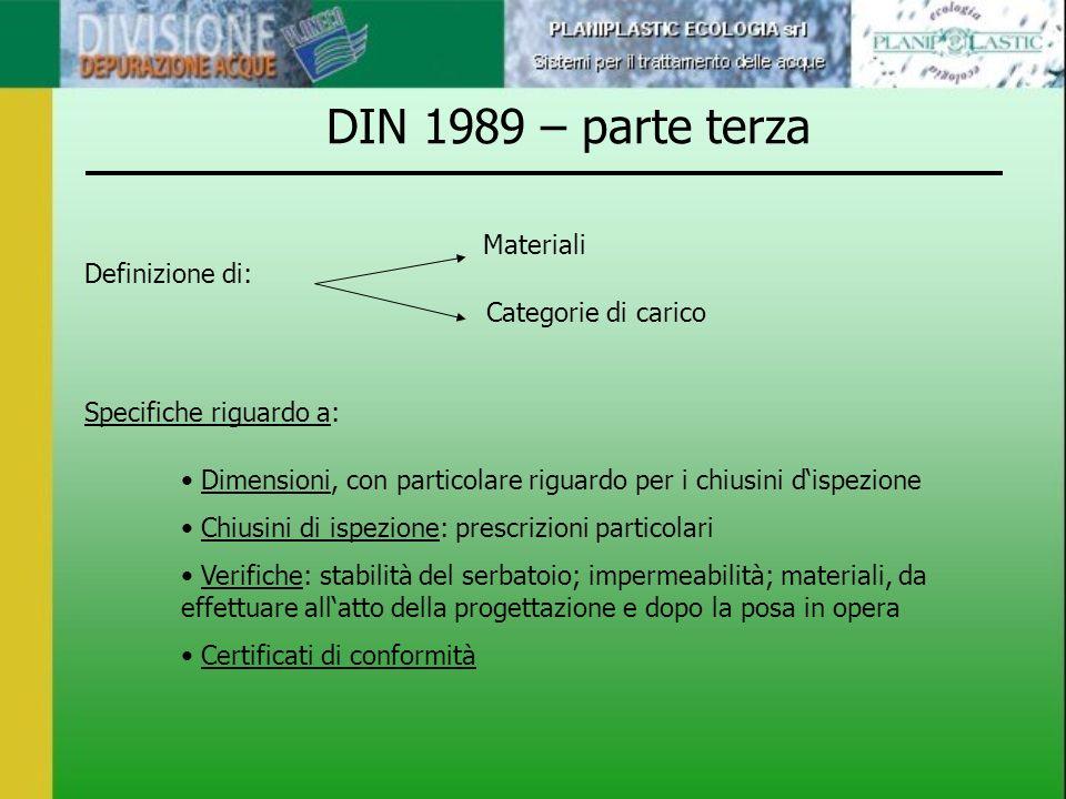 DIN 1989 – parte terza Materiali Definizione di: Categorie di carico