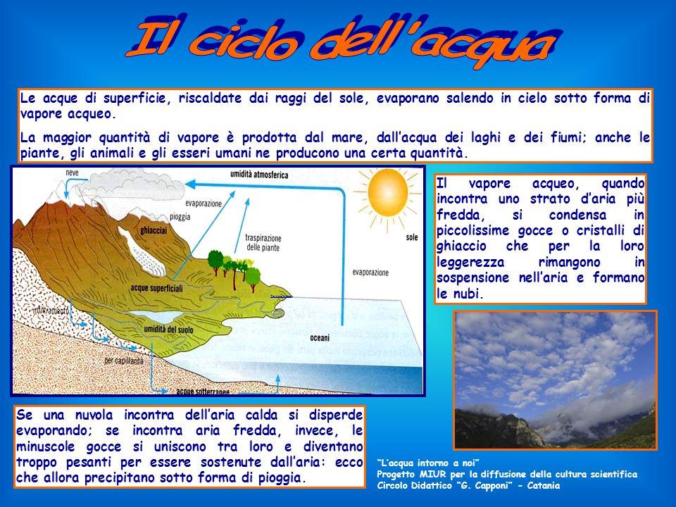 Il ciclo dell acqua Le acque di superficie, riscaldate dai raggi del sole, evaporano salendo in cielo sotto forma di vapore acqueo.