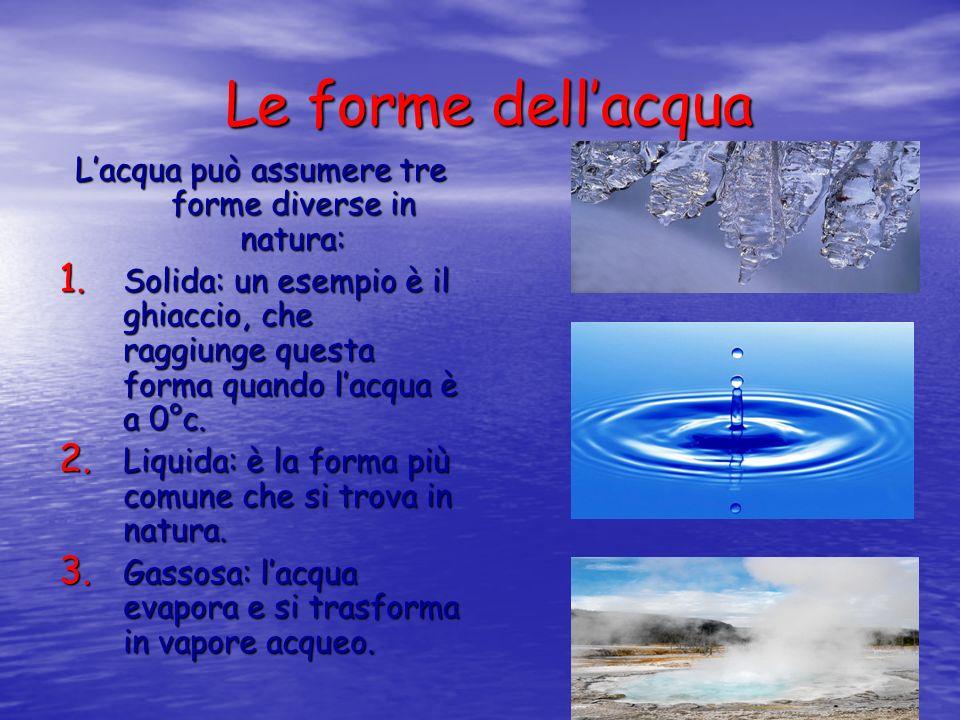 L'acqua può assumere tre forme diverse in natura: