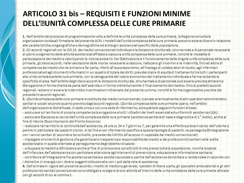 ARTICOLO 31 bis – REQUISITI E FUNZIONI MINIME DELL''UNITÀ COMPLESSA DELLE CURE PRIMARIE