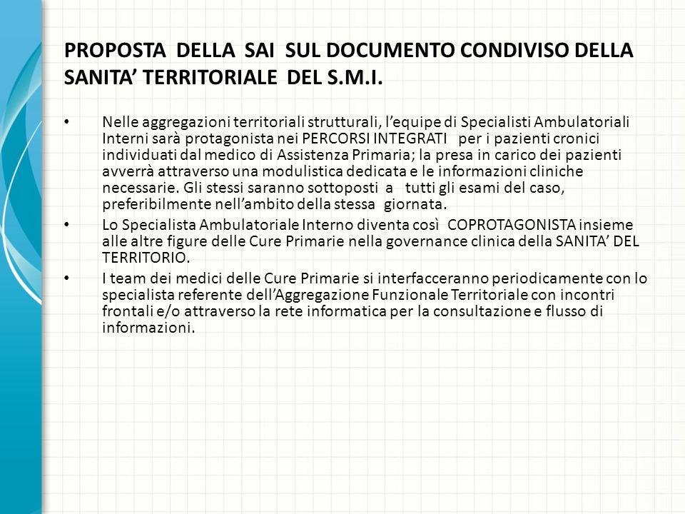 PROPOSTA DELLA SAI SUL DOCUMENTO CONDIVISO DELLA SANITA' TERRITORIALE DEL S.M.I.