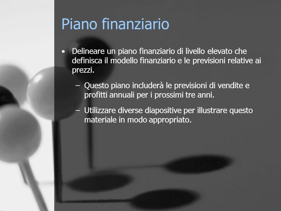 Piano finanziario Delineare un piano finanziario di livello elevato che definisca il modello finanziario e le previsioni relative ai prezzi.