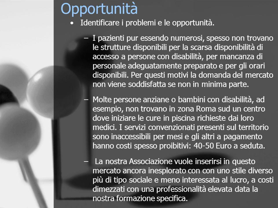 Opportunità Identificare i problemi e le opportunità.