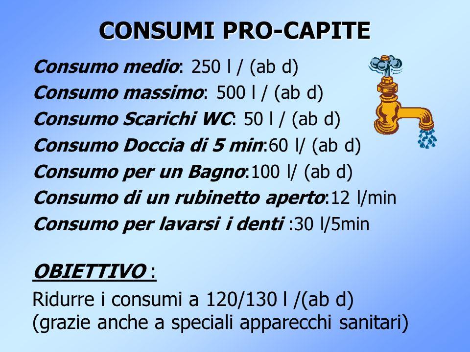 CONSUMI PRO-CAPITE OBIETTIVO : Ridurre i consumi a 120/130 l /(ab d)