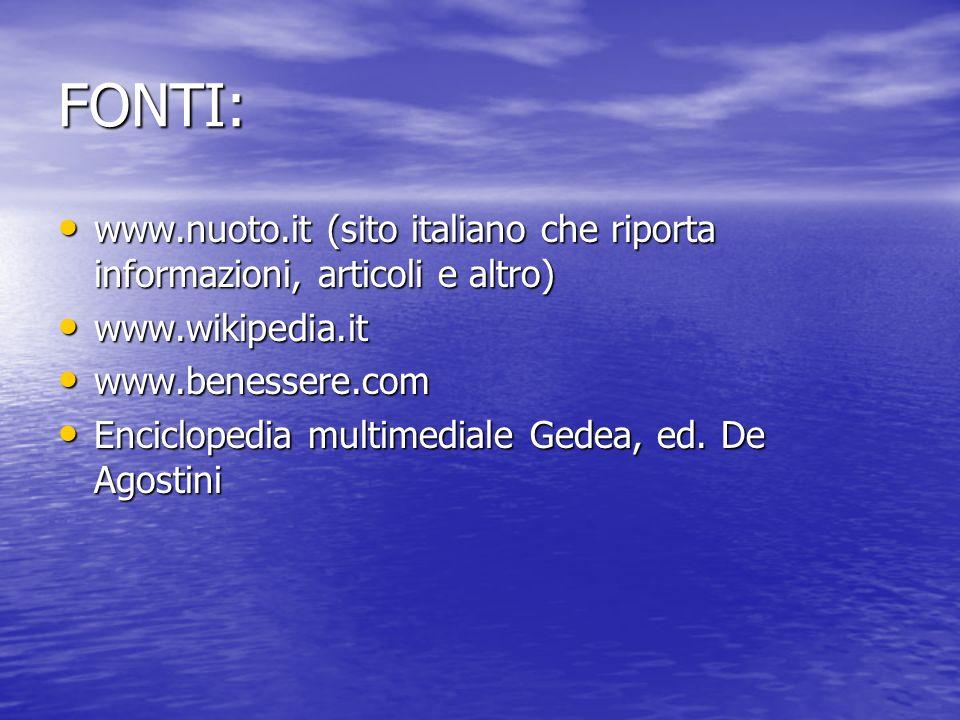 FONTI:www.nuoto.it (sito italiano che riporta informazioni, articoli e altro) www.wikipedia.it. www.benessere.com.