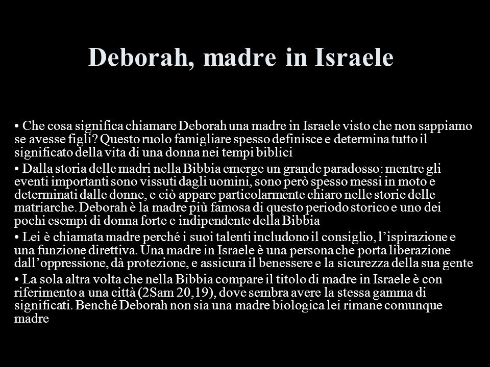 Deborah, madre in Israele