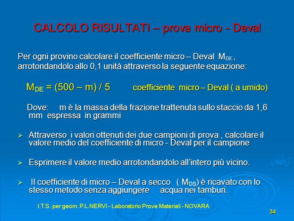 CALCOLO RISULTATI – prova micro - Deval
