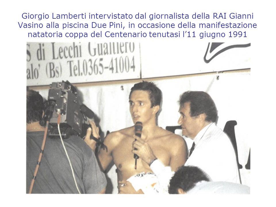 Giorgio Lamberti intervistato dal giornalista della RAI Gianni Vasino alla piscina Due Pini, in occasione della manifestazione natatoria coppa del Centenario tenutasi l'11 giugno 1991