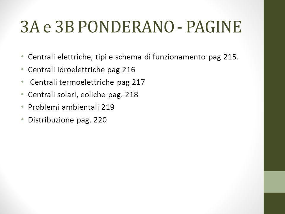 3A e 3B PONDERANO - PAGINE Centrali elettriche, tipi e schema di funzionamento pag 215. Centrali idroelettriche pag 216.