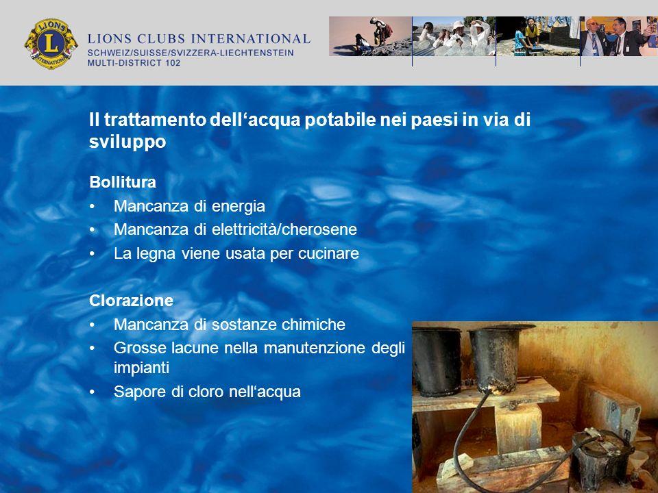 Il trattamento dell'acqua potabile nei paesi in via di sviluppo