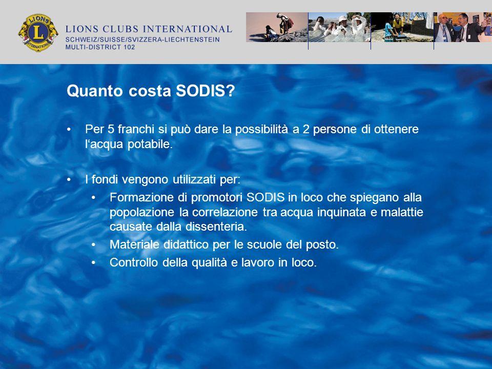 Quanto costa SODIS Per 5 franchi si può dare la possibilità a 2 persone di ottenere l'acqua potabile.