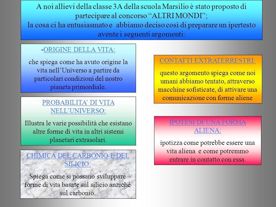 A noi allievi della classe 3A della scuola Marsilio è stato proposto di partecipare al concorso ALTRI MONDI ; la cosa ci ha entusiasmato e abbiamo deciso così di preparare un ipertesto avente i seguenti argomenti: