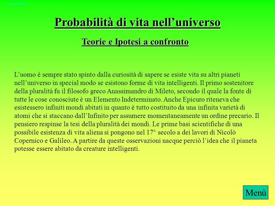Probabilità di vita nell'universo Teorie e Ipotesi a confronto