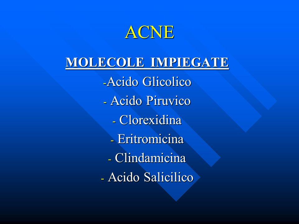 ACNE MOLECOLE IMPIEGATE Acido Glicolico Acido Piruvico Clorexidina