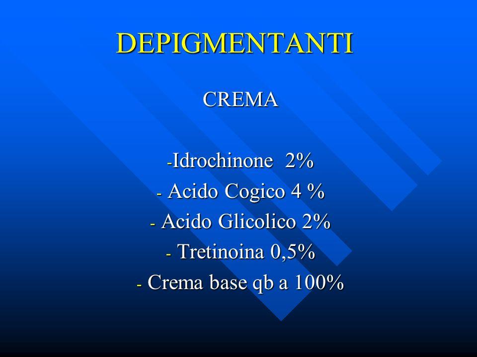 DEPIGMENTANTI CREMA Idrochinone 2% Acido Cogico 4 % Acido Glicolico 2%