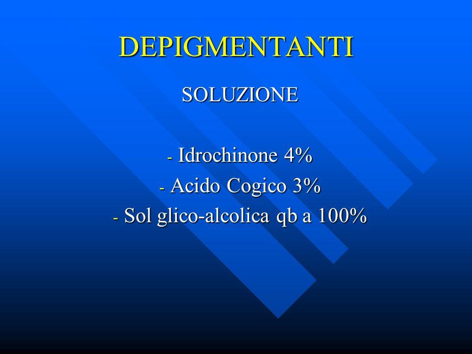 SOLUZIONE Idrochinone 4% Acido Cogico 3% Sol glico-alcolica qb a 100%