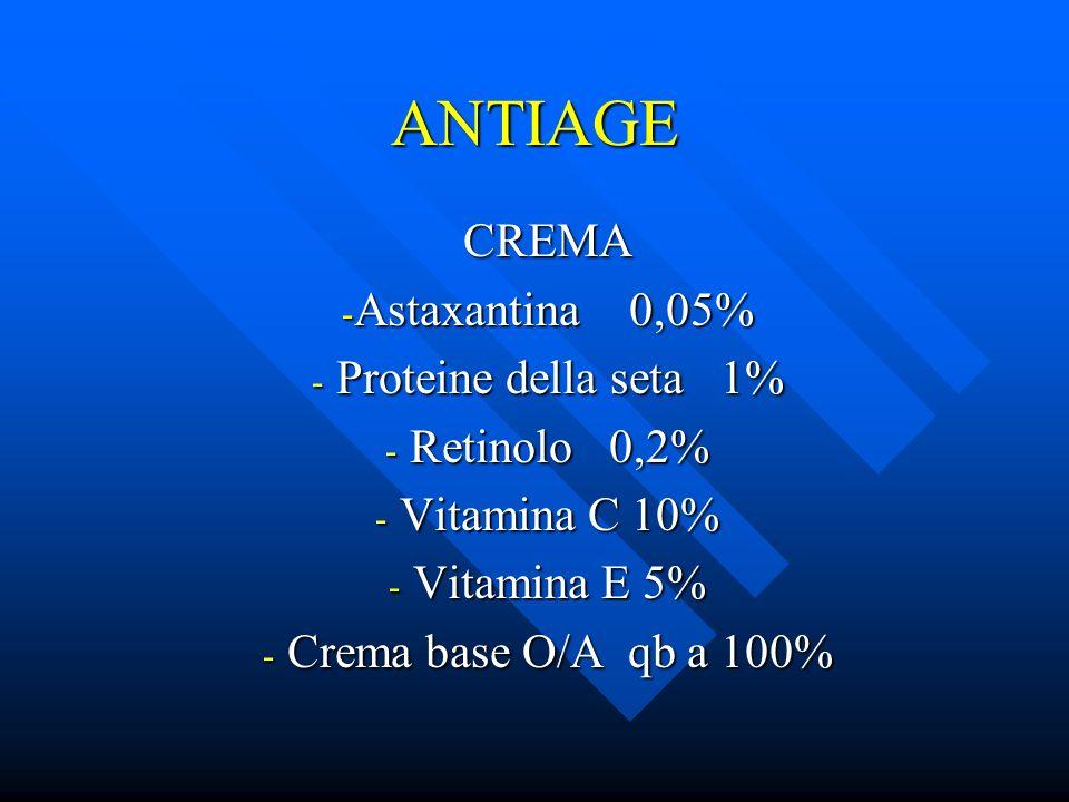 ANTIAGE CREMA Astaxantina 0,05% Proteine della seta 1% Retinolo 0,2%