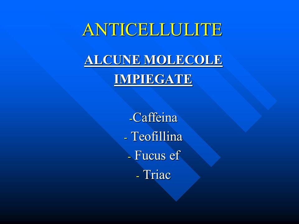 ALCUNE MOLECOLE IMPIEGATE Caffeina Teofillina Fucus ef Triac