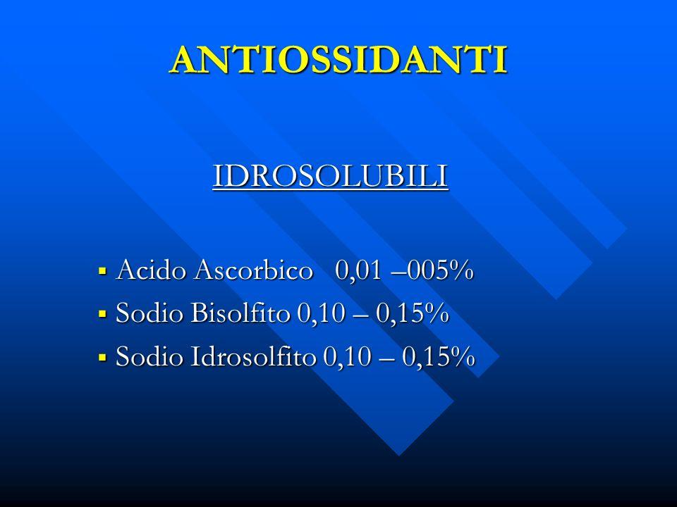 ANTIOSSIDANTI IDROSOLUBILI Acido Ascorbico 0,01 –005%