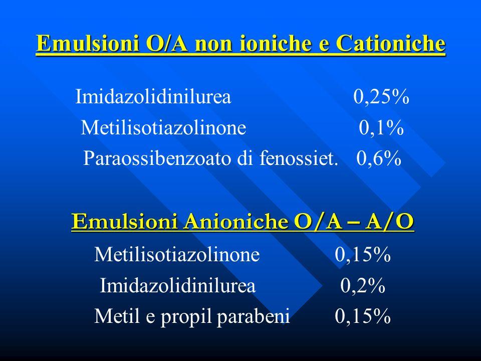 Emulsioni O/A non ioniche e Cationiche