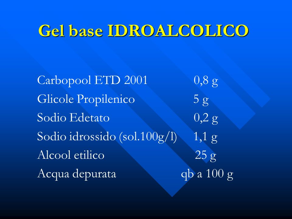 Gel base IDROALCOLICO Carbopool ETD 2001 0,8 g Glicole Propilenico 5 g