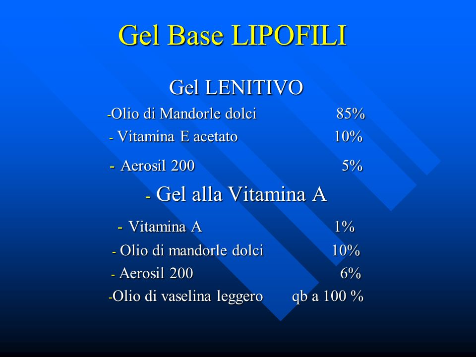 Gel Base LIPOFILI Gel LENITIVO Aerosil 200 5% Gel alla Vitamina A