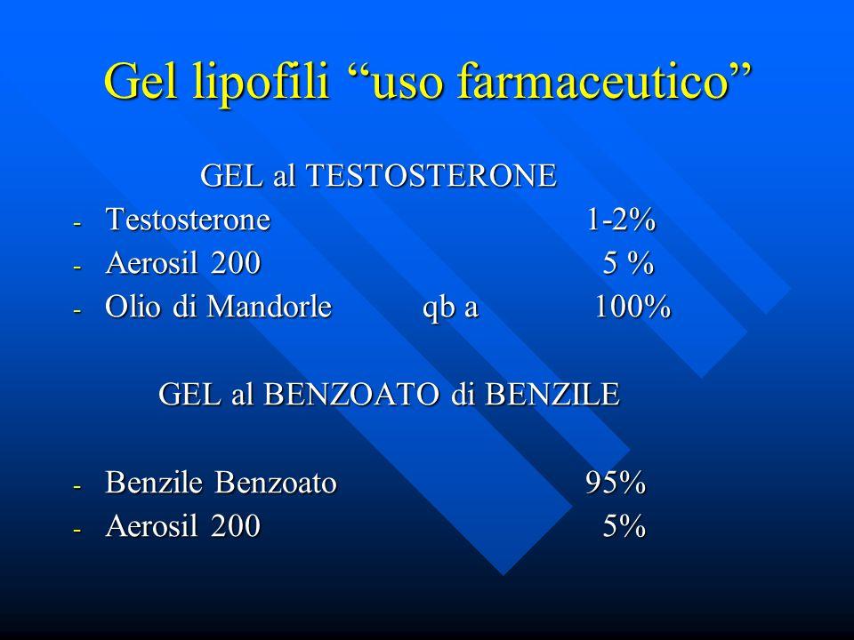 Gel lipofili uso farmaceutico