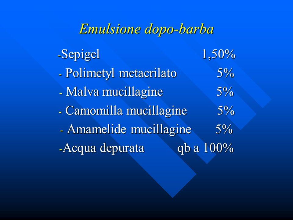 Emulsione dopo-barba Sepigel 1,50% Polimetyl metacrilato 5%