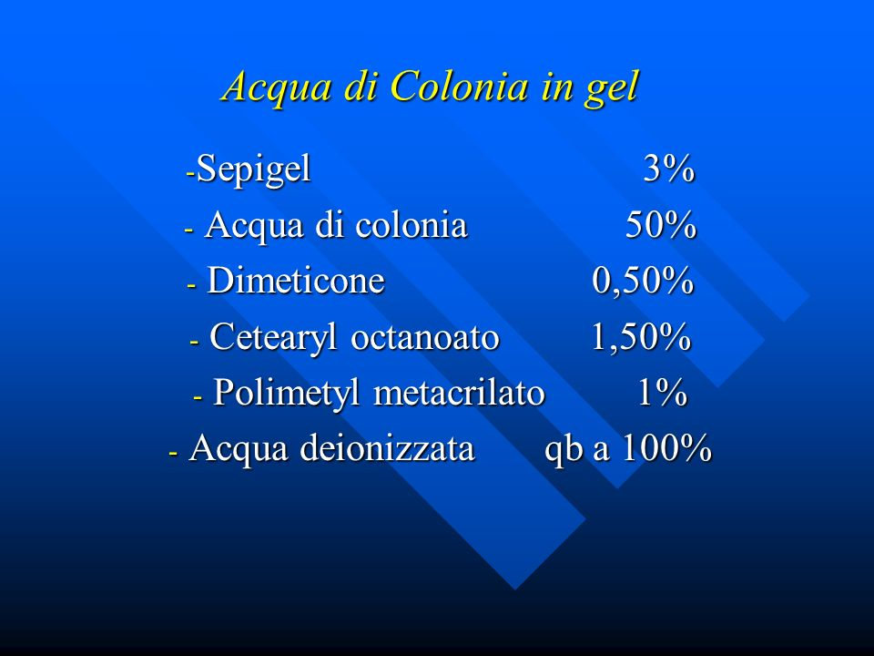 Acqua di Colonia in gel Sepigel 3% Acqua di colonia 50%