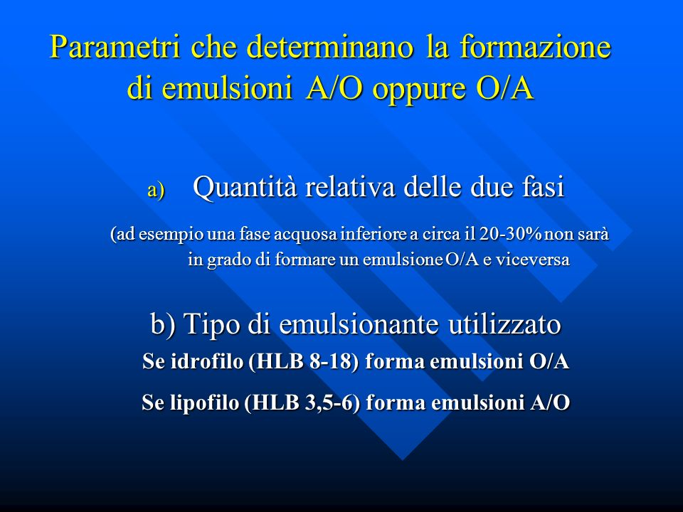 Parametri che determinano la formazione di emulsioni A/O oppure O/A