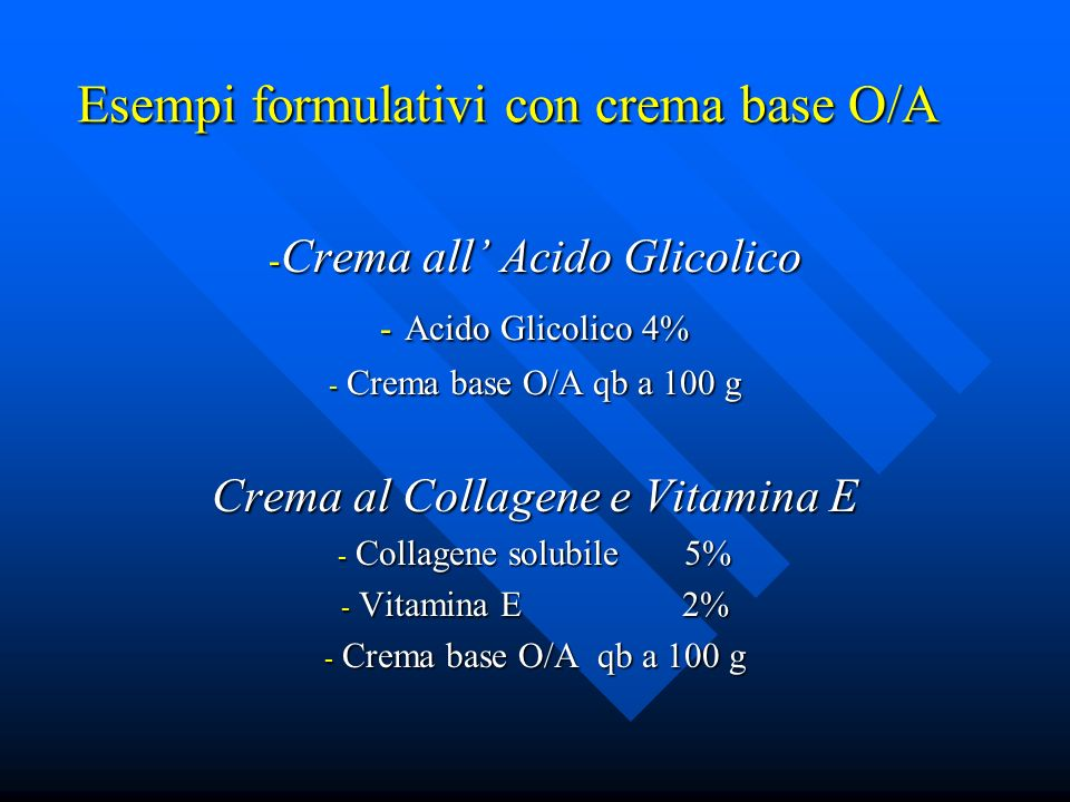 Esempi formulativi con crema base O/A