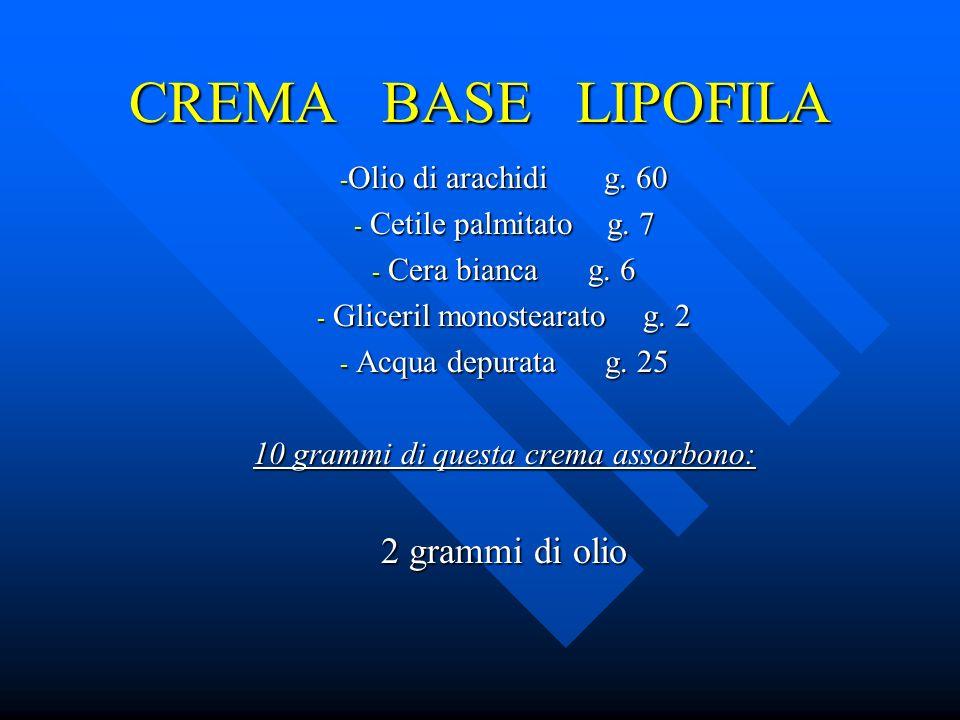 CREMA BASE LIPOFILA 2 grammi di olio Olio di arachidi g. 60
