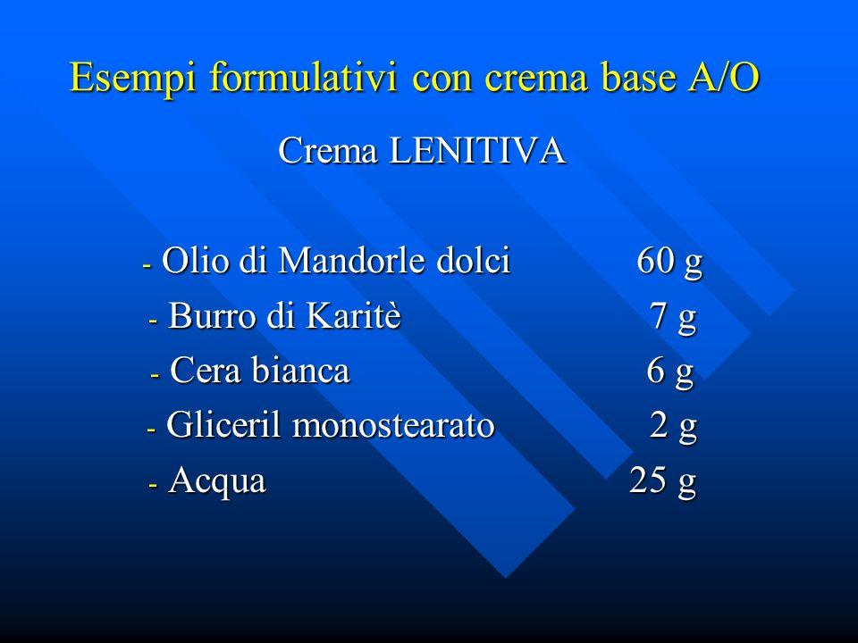 Esempi formulativi con crema base A/O
